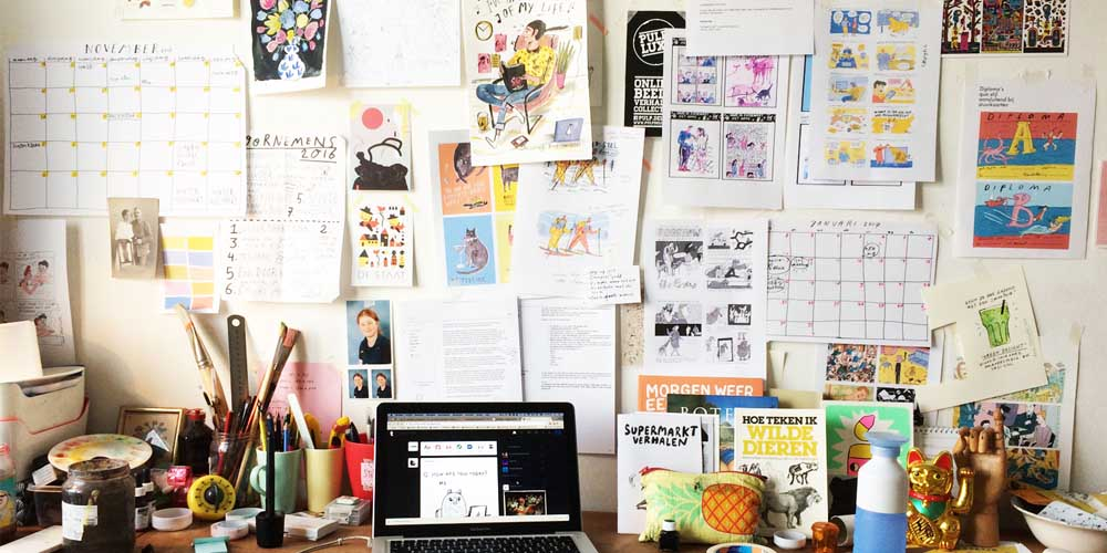 Mijn zeer goed georganiseerde studio